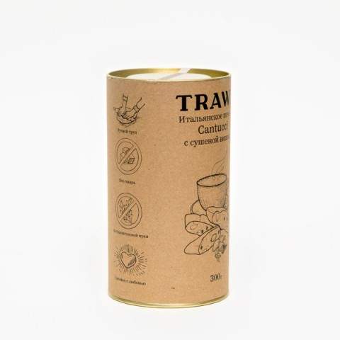 TRAWA, Кантуччи с сушеной темной вишней, печенье, 300 г