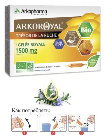 Arkopharma Laboratoires, Gelee Royale 1500 mg (маточное молочко), ампулы, 20х10 мл