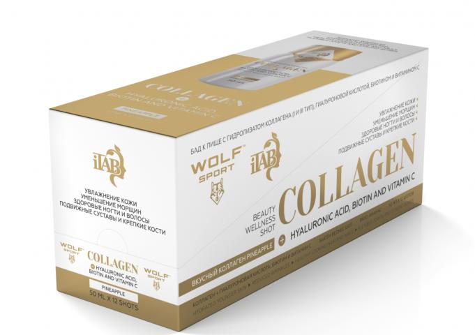 Wolfsport+iTAB, Вкусный коллаген (фейхоа), шоты, 12х50 мл