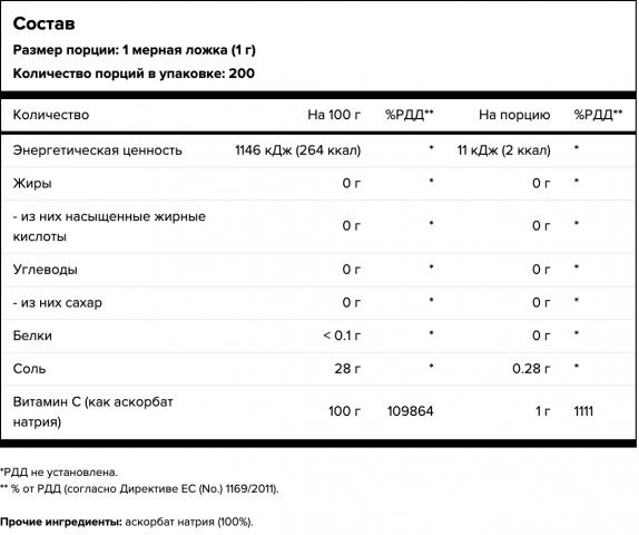 Maxler, Витамин С (sodium ascorbate), порошок, 200 г